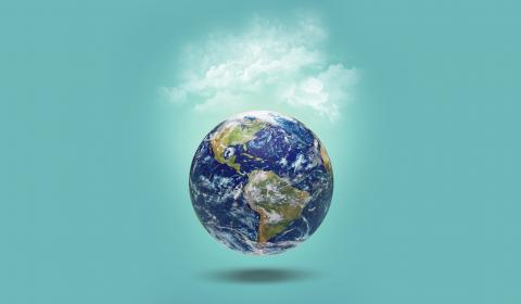 Earth on blue background